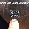 Micro etiqueta de cáscara de huevo, tamaño pequeño destructibles vinilo etiqueta de cáscara de huevo