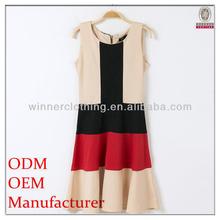 2014 new fashion design hot sale sleeveless elegant multi color combinations of dresses