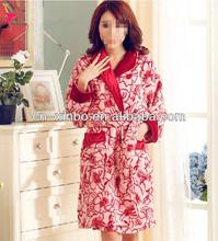 Oeko-Tex 100 Fashionable Flower&Leaf Printed Flannel Fleece SPA Bathrobe for Femeal