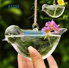 colgantes de vidrio florero de aves