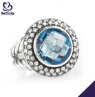 fashion big sapphire silver ring 925 sterling silver jewelry