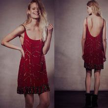 Hot sale ladies sequin dress scoop neckline women red dress China supplier OEM