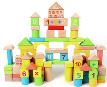 Wood Building Blocks Toys 100pcs Baby Number Building Blocks Brain Training Toys