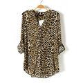 Mujeres otoño nueva moda de manga larga de cuello mao Leopard gasa Casual Ruffles blusa 7686