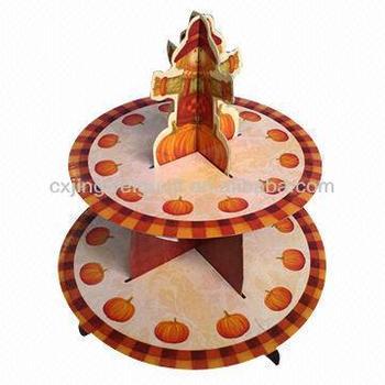 Halloween pumpkin elegant custom made decorative paper 2 tier floating cake stand