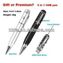 Laser pointer pen USB flash drive,3-in-1 laser pointer+ball point pen+USB pen drive