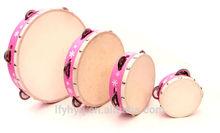 pink tambourine drum set musical instrument oil painting