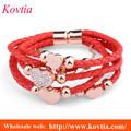 las mujeres en forma de corazón rojo cuerda pulsera de cuero tejido