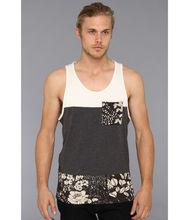 slim fit wholesale men tank top with tropical print at hem