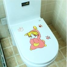 Lovely Carton Fashion Bathroom Decoration Peel and Sticker Eco-friendly Toilet Home Decor Wall Sticker