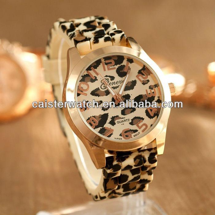 Customized leopard watch silicone band fancy women dress watches fashion Geneva Lady Girls Sport Wrist Watch