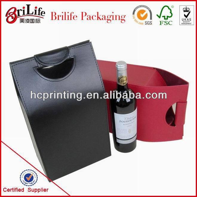 China Custom Luxury leather wine carrier