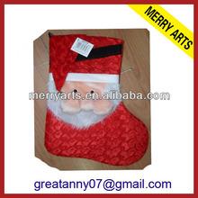 2015 new product wedding decoration plush christmas stockings santa's face stockings sale