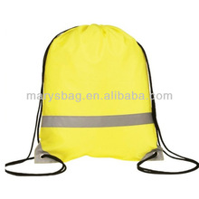Reflective nylon like polyester Drawstring Bag