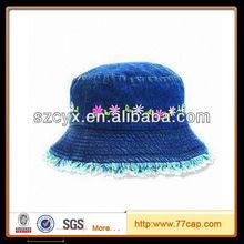 cowboy washed brushed fabric decorative pattern embroidery logo bucket hat