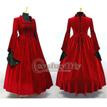 medieval gothic punk dress Ball Gown in renaissance or victorian for female red dress