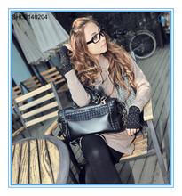 Fashion knitting women's bag black solid handbags