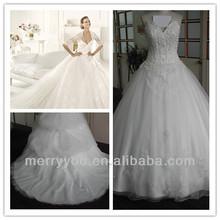 MARRY YOU V-neck Enhanced Bodice Puffy Ball Gown Skirt Wedding Dresses Haute Cuture Elie Saab Fabric MYG2422