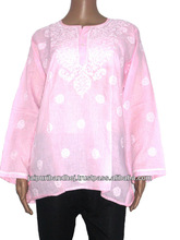 Wholesale Lot Indian Kurti Patterns Cotton Embroidery Kurti Chikan Tops Tunic