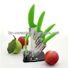 Green handle kitchen block and ceramic knife set