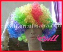 Wholesale 2014 World Football Fan Wigs Colorful Wig Short Afro Wigs