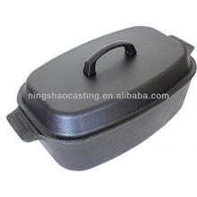 cast iron preseasoned large roasting pot