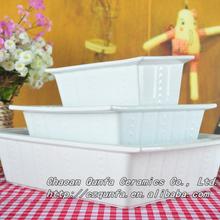 Ceramic square cake tool embossment Rec. bakeware with stripe QFF13-042