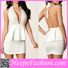 Wholesale Charming Backless White Office Uniform Dresses