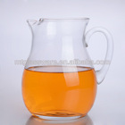 Scissor finished clear glass fruit infuser water pitcher ,beer pitcher,milk pitcher with handle