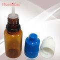 10ml pet de color ámbar/10ml marrón botella de plástico con larga y delgada cuentagotas y blanco a prueba de niños& manipular la tapa