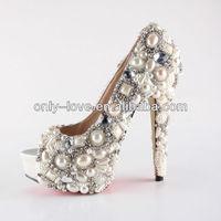BS758 super high heel peep toe ivory pearls rhinestones wedding shoes,bridal shoes