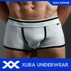 100 Cotton Spandex Solid Color White Plain Underwear Boxers For Male(P)