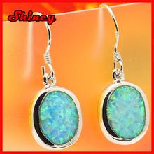 2014 high quality silver diamond opal paved dangle women fashion earring
