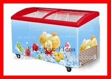 Verre incurvé couvercle poitrine congélateur idéal pour la crème glacée, Porte en verre incurvée congélateur