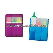 case highlighter marker pen set/mini highlighter set/highlighter in plastic box