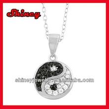 Sterling Silver Cubic Zirconia Yin Yang Necklace yin yang pendant