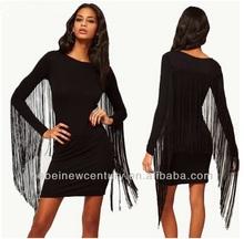 2015 new fashion dress Tasseled black sleeve department back to winter long sleeve party Tassel Dress