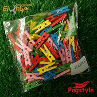 Mini wooden peg art craft Pegstyle 3.5cm colored wooden peg