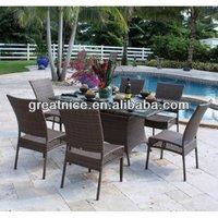 Outdoor or Garden Rattan/Wicker Great Nice Patio Dining Set Furniture