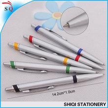silver ball pen click hot sale plastic ball point pen