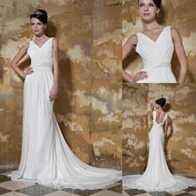 V neck chiffon grecian elegant wedding dress with very long tail