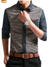 Oxford camisa de manga longa com avô Collar