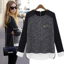 Spring 2014 European and American backing shirt chiffon blouse stitching loose shirt