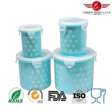4pcs cylindrical plastic food storage container box with airtight lid