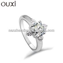 OUXI 2015 fashionable cyrstal stone rings Zinc alloy white crystal ring 40123