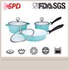 High quality Ceramic die casting Aluminum 6 Pcs Silicone Handle Cookware Set