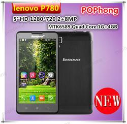 F Original Lenovo P780 MTK6589 Quad Core mobile phones 5.5 inch IPS HD 1GB RAM 4G ROM 8.0MP with 4000mah battery