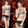 Las mujeres al por mayor sexy conjunto bra+skirts skiny rendimiento cáscara de ropa de baile de salón de baile etapa mostrar polo caliente traje de la danza ys466