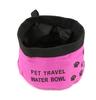 Portable rose red cloth bag pet food bowl