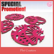 Pink felt plate coaster